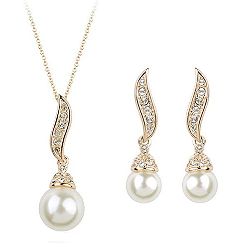 Sanwood® Elegant Crystal Pearl Drop Angle Wing Earrings Necklace Jewelry Sets for Women (Golden)