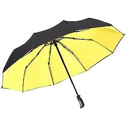 Easy Go Shopping Parasol Compact à Parapluie Pliant Automatique avec Protection UV à 95% pour Sun Rain Portable Parapluie (Color : Jaune, Size : Libre)
