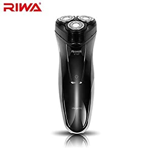 Riwa Electric Shaver Rechargeable Rotary Cordless Electric Shaving Razor Wet and Dry for Men - Black