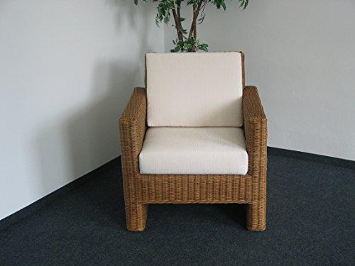 Rattansessel 05528/1 in Farbton Honig mit Sitz- und Rückenkissen - auch passender 2-sitzer, 3-sitzer, Tisch und Ottomane im Angebot!