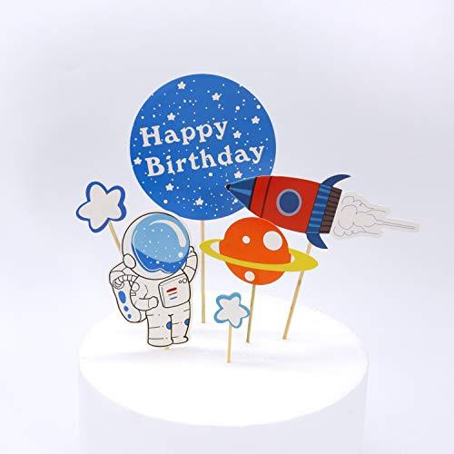 Regendeko Happy Birthday Weltraum-Abenteuer-Thema Astronaut Cake Toppers Geburtstagskuchen Deko Cupcake Toppers für Weltraum Party Kinder Planeten Geburtstag Party Sterne Babyparty