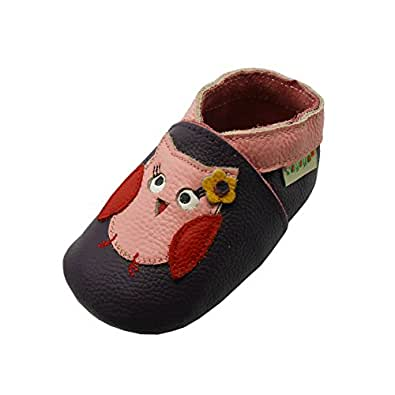 Sayoyo Owls WeichesLeder Lauflernschuhe Krabbelschuhe Babyschuhe(0-6 Monate,Violett)