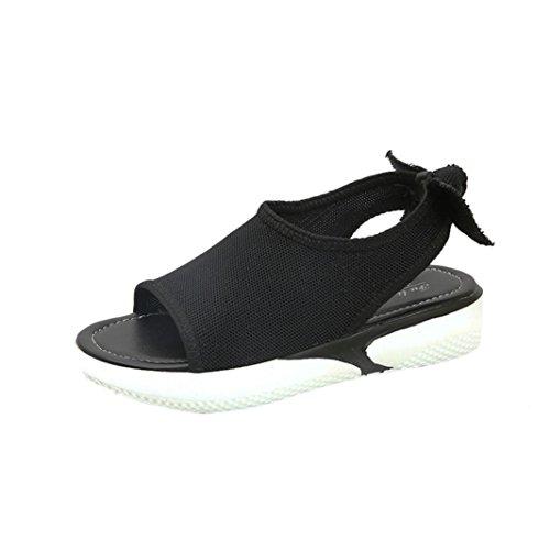 OYSOHE Sommer Sandalen, Mode Frauen Tuch Schmetterling Knoten Shake Schuhe Runde Kappe Dicke Bottom Flache Schuhe