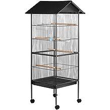 Voliera gabbia per uccelli roditori, dimensione esterna circa 155 x 66 x 66 cm, interna circa 108 x 52 x 52 cm
