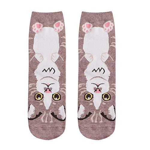 Qiuday Socken Wintersocken Stricksocken Baumwolle Damensocken Damen Sneaker Socken Kreatives Karikatur Cat Baumwollsocken Winter Thermal Socks Mittel Lange Socken