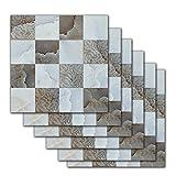 Eternitry Pegatinas de Azulejos Autoadhesivo Impermeable de la Pared Sticke Retro Mosaico de imitación Simple Wallpaper Art Decoration para baño Cocina Piso Pared Home 20 20cm (6 pcs)