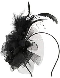 perfeclan Sombrero Fascinator Diadema Tocado de Plumas Floral Headwear  Mujer para Boda Elegante 02396c8a4b4