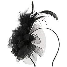 perfeclan Sombrero Fascinator Diadema Tocado de Plumas Floral Headwear  Mujer para Boda Elegante 48b51220e5a