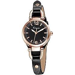 Alienwork Quarz Armbanduhr Armreif Kette wickeln Quarzuhr Uhr vintage Roségold schwarz Leder YH.KW545G-01