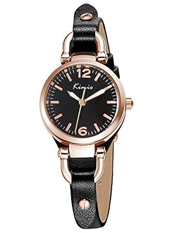 Alienwork Quarz Armbanduhr Armreif Kette wickeln Uhr Damen Uhren Mädchen Roségold Leder schwarz