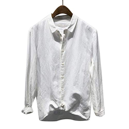 l Button Umlegekragen Slim Fit Langarm Top Shirt Bluse(XXXX-Large,Weiß ()