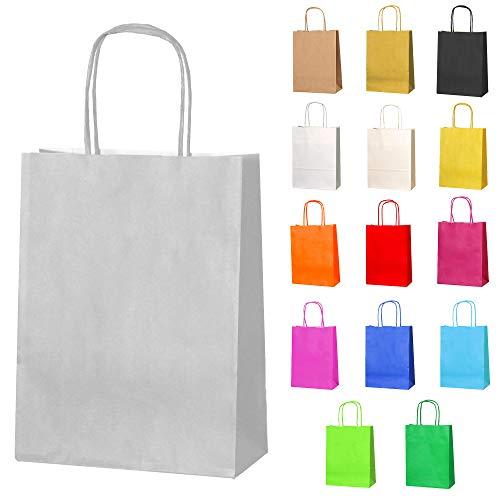 Thepaperbagstore 10 Papiertüten für Partys und Geschenke mit Griffen - Silber/Hellgrau - 180x220x80mm (Silber-geschenk-taschen Mit Griffen)