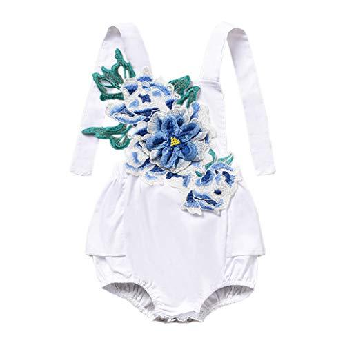 squarex Infant Baby Girl Kid Backless ärmellose Blume Stickerei Strampler Bodysuit Outfits Niedliche und Bequeme Freizeitkleidung