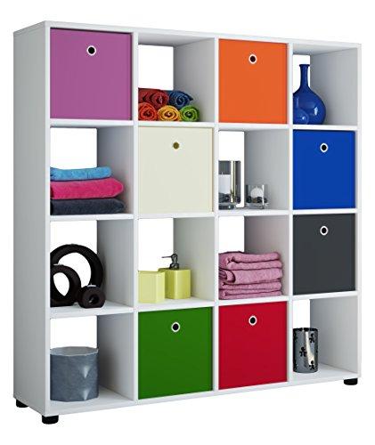 *VCM Regal Standregal Säule Bücherregal Aufbewahrung Raumteiler Raumtrenner Sideboard 123 x 120 x 30 Weiß*