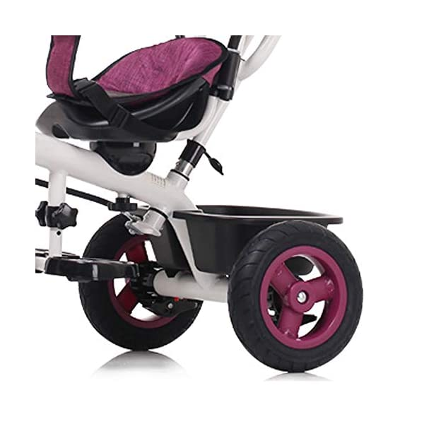 LRHD 4-in-1 Light Steel Adjustable Convertible Tricycle Stroller with Adjustable Push Handle, Detachable Ceiling, Retractable Pedal, Lockable Pedal, Detachable Guardrail, Children's Birthday Gift LRHD 1. 4-in-1 tricycle: easy to switch between the four modes and easy to disassemble and install all components. This tricycle can grow up with a child aged 10 months to 5 years old, which is a rewarding investment for your child's childhood. Our four-in-one tricycle will be one of your children's fond memories of childhood. 2. Convenient for parents: when children cannot ride independently, parents can easily use the push handle to control the steering and speed of the tricycle. The height of the push handle can be adjusted to meet the different needs of parents. The push handle is also detachable, allowing children to enjoy free rides. 3. Ensure safety: Considering the safety of children when using, we have made many detailed safety designs. There is a detachable sponge guardrail on the seat, which can also be opened to let children get on the bus. The additional vertical safety belt can not only prevent the child from falling down, but also cover the button to avoid injury to the child. 8