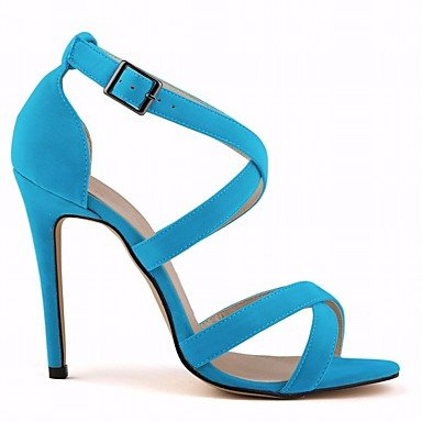 pwne Donna Comfort Tacchi Pu Molla Casual Stiletto Heel Nero Blu 4A-4 3/4In US7.5 / EU38 / UK5.5 / CN38