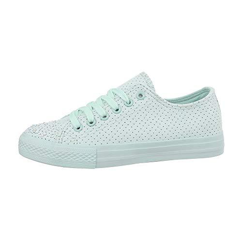 Ital-Design Damenschuhe Freizeitschuhe Sneakers Low Synthetik Türkis Gr. 39 (Türkis Leer)
