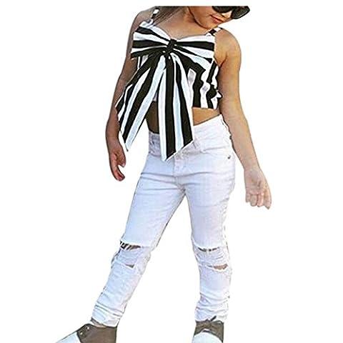 Sommer Kinder-Mädchenkleidung, Bekleidung Longra Kinder Mädchen Tops Loch Hose Striped Bogen T-Shirt Kurze Sling Kleidung + weißes Lang Hosen Outfits Set(2-7Jahre) (120CM 5Jahre,