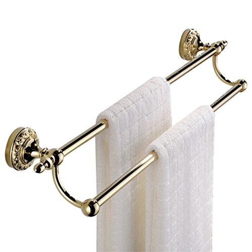 CASEWIND Doppel Handtuchhalter, Poliert Gold finished Opulent Luxus Stil für Dusche aus Messing, Doppel Handtuchstange zum Bohren Wand -