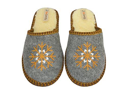 BeComfy Damen pantoffeln Warme Hausschuhe Filzpantoffeln Wolle Modell FD70 Braun