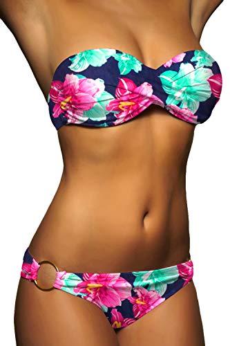 ALZORA Twist Push Up Bandeau Bikini Set Damen Pushup Badeanzug viele Farben und Größen (S, Rot - Weiss kariert)
