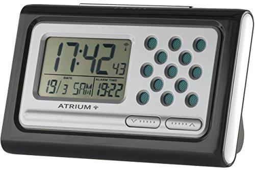 ATRIUM sprechender Funkwecker digital Seniorenwecker schwarz mit Snooze und Lautstärkeregelung...