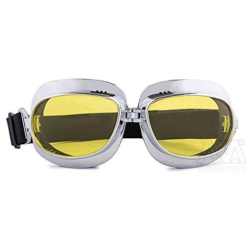 nawenson Vintage Motorrad Goggles Retro Aviator Pilot Cruiser Steampunk Motocross Classic Brillen ATV Bike UV-Schutz Silber, gelb Motorrad Cruiser-brille
