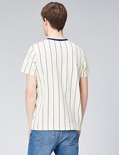 FIND Herren T-Shirt Vertical Stripe Weiß (Winter White)