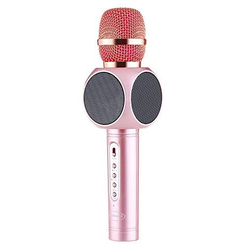 LHJCN Karaoke Mikrofon, Karaoke Microphone Kinder,Tragbarer Karaoke Player Lautsprecher Kompatibel mit Apple iPhone Android Smartphone oder PC,Home KTV Outdoor Party Muisc Spielen Singen, Pink