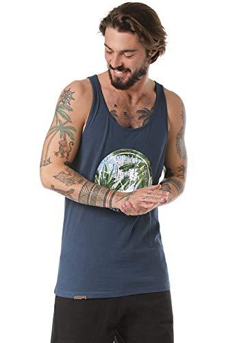 Lakeville Mountain Herren Tank Top MERU Leaves mit Frontprint   Kurzarm Oberteil mit Rundhals-Ausschnitt   Regular Fit Stylisches Männer Shirt  Blau, XL -