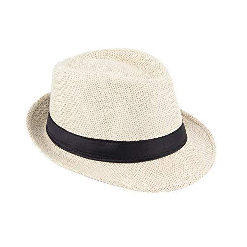 Unisex Fedora Trilby Hut Mütze Stroh Panama Style Packable Travel Sonnenhut beige Fashion Trilby Hut