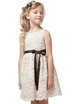 iEFiEL Vestidos Elegantes de Encaje Floreado de Princesa sin Mangas de Cuello Redondo para Niñas Bebés