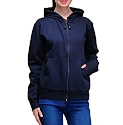 Scott Womens Premium Cotton Pullover Hoodie Sweatshirt with Zip - Navy Blue - 1.1_lsshz11_XL