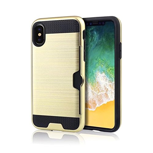 iPhone X Handycover, MOONMINI für iPhone X Dual Layer Brushed Textured Hybrid Hülle Hard PC Weich TPU Stoßfest Back Abdeckung Full Protection Schutzhülle Shell mit Kartenschlitz Rot Golden