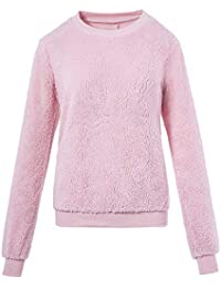 ALIKEEY Women Plush Sweater Imitation Lambskin Round Neck Long Sleeve Blouse Women's Long-Sleeved Shirt