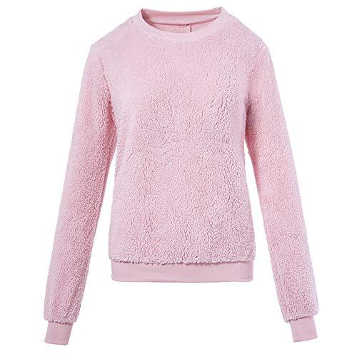 ❤️ Suéter de Invierno Mujer de Felpa, Suéter Ropa Interior térmica de imitación Piel de Cordero Cuello Redondo Blusa de Manga Larga Absolute