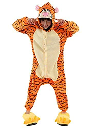PADGENE Pyjama Animaux Cosplay Halloween Déguisement Adulte Femme Homme Unisexe, Tiger, Small