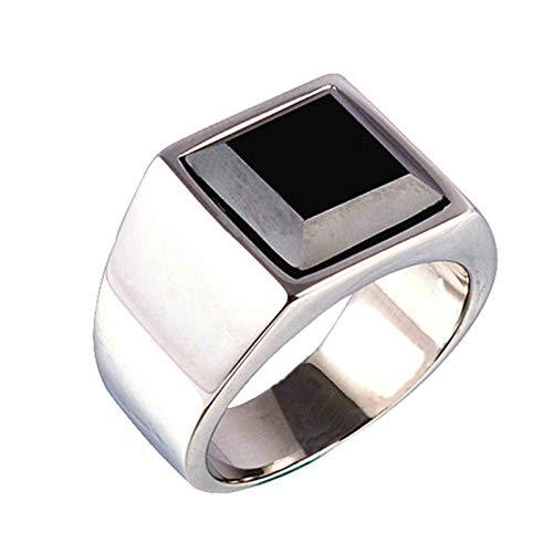 Daesar Edelstahl Herren Ring Edelstahlring Silber Rechteck Schwarz Zirkonia Partnerring Freundschaftsring Ring Größe 67 (21.3) (In Lila Pimp)