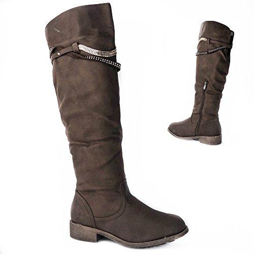 Damen Stiefel leicht gefüttert Stiefeletten Boots Glitzer Nieten ZH526 Braun