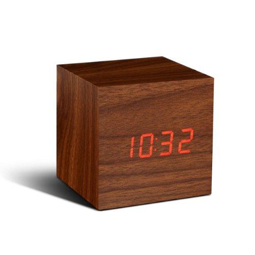 Gingko Cube Walnut Click Clock Red LED