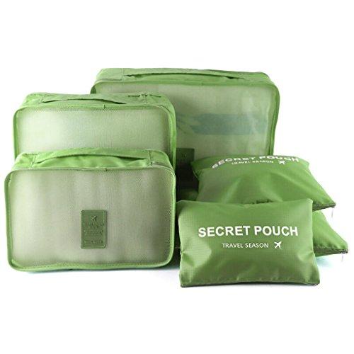 6set Pack tasche valigetta Organizer borsa da viaggio sacchetto kleidertasche cultura borsa valigetta Borsa per scarpe Organizer Stoccaggio Borsa in nylon verde