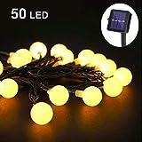 LightShine, Guirnalda Solar Decorativas, 50 LED, 7M, Impermeable, Cadena Solar de Luces , Guirnaldas Luminosas para Exterior, Interior, Jardines, Casas, Patio - Blanco Cálido