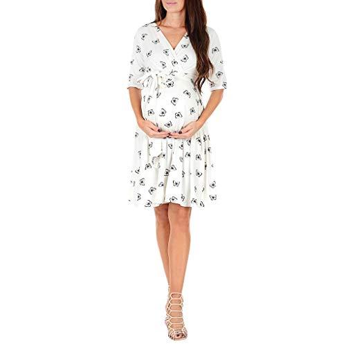 RYTEJFES Umstandskleid Sommer Damen Sonnenblume Drucken Schwangerschafts Kleid mit Kurzarm Mutterschafts Kleider Umstandsmode Stillkleid - Drucken Seite Schlitz Rock