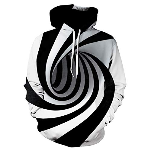 YAN-xUE Men ' S Hood Sweatshirt, Plus Size Long Sleeve Slim Hoodie-Geometric Casual Hooded White XXXL Fall Winter Daily Beach with Pockets,White,M -