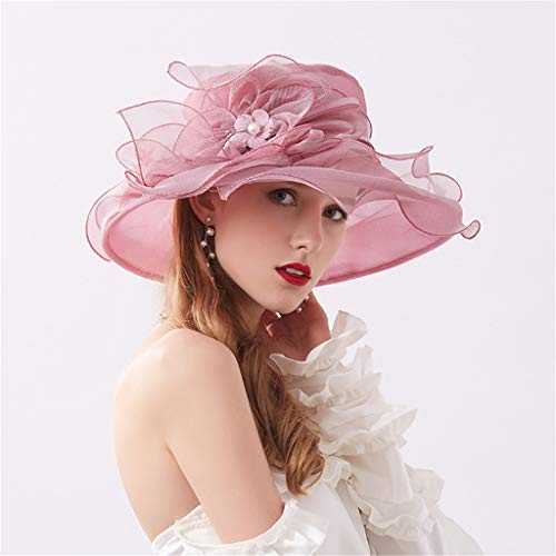 ToDIDAF FY02 Kentucky Derby Hat for Women, Organza Church Dress, Sun Hat, Wedding Hat, Fascinator Bridal Tea Party Cocktail Party Shopping Formal Occassion Outdoor Activities (Purple)
