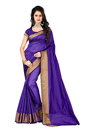 PM Innovations Cotton Saree With Blouse Piece (Lagdi patta-Blue-PM_Blue_Free Size)
