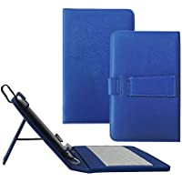 Funda Linx 8 con teclado - Teclado Micro USB universal Tsmine con funda de piel premium PU, azul marino