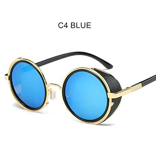 CCGSDJ Steampunk Sonnenbrille Männer Gothic Runde Sonnenbrille Vintage Mens Brand Design Punk Steam Sunglass Goggles
