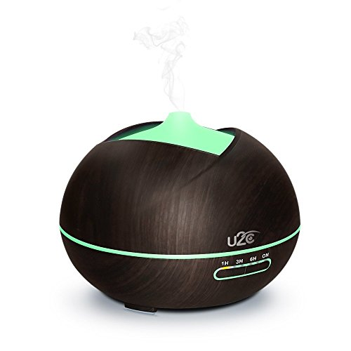 Aroma Diffuser, HUMTUS 450ML Luftbefeuchter Humidifier mit 7 LED Farben Licht und 4 Auto-timer Schlafmodus Wasserlose Auto-Abschaltung für Yoga Salon Spa Hotel Büro Wohn-, Bade- oder Kinderzimmer