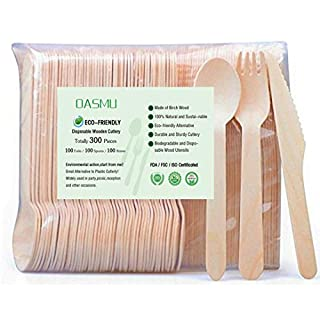 OASMU 300 Piece Disposable Wooden Cutlery,Eco Disposable Cutlery, 100% Compostable Cutlery for Parties, Events, Bbqs, Takeaways, Just Eat, Catering and Party (100 Forks, 100 Spoons, 100 Knives)